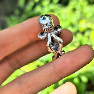 925 Sterling Silver Octo RING OCTOPUS Ocean Deep Sea Creature Tentacle Talisman Biker Punk Rocker Goth Exclusive Gift