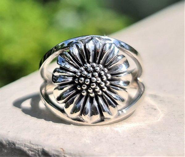 925 Sterling Silver Daisy Ring Sunflower Ring Sun flower Design