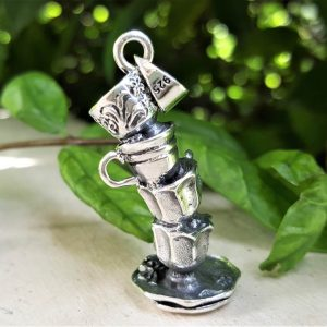 Tea Party Pendant Sterling Silver 925 Cup of Tea Alice in Wonderland Cute Silver Gift