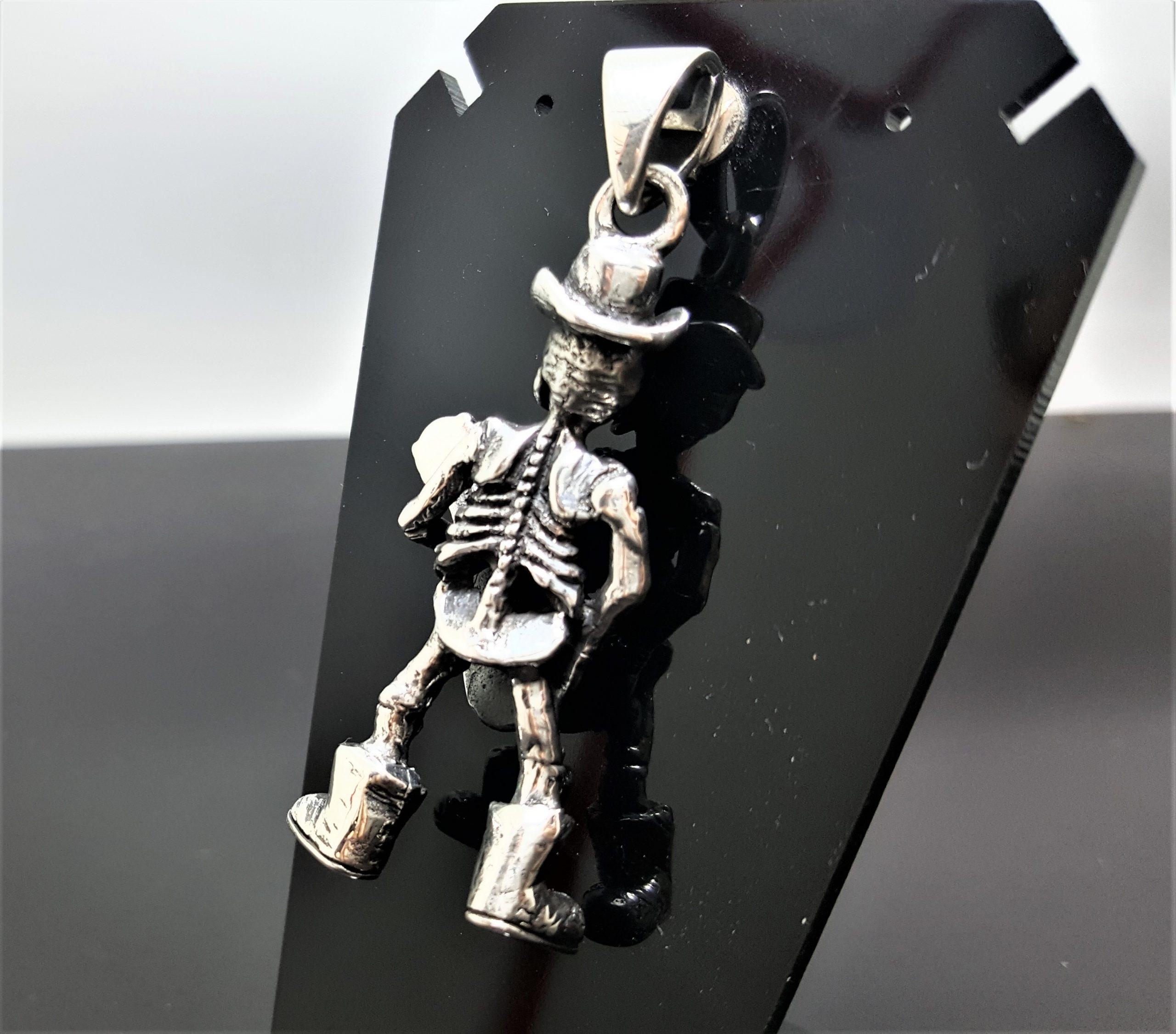 Details about  /Artisan 925 Solid Sterling Silver Mens Punk Gothic Rocker Biker Skull Hand Skele