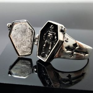 Skeleton in Coffin Locket Ring STERLING SILVER 925 Rock Punk Goth Exclusive Design Gift
