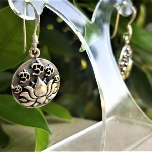 Lotus Om Earrings Sterling Silver 925 Sacred Symbol Talisman Amulet Unique Gift AUM Ohm Buddhist Symbols