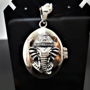Ganesh Locket Pendant 925 Sterling Silver Elephant Great Ganesha Lord of Success Wealth Wisdom Om Aum Talisman Amulet Good Luck Ohm Symbol