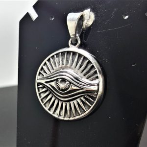 All Seeing Eye PENDANT STERLING SILVER 925 Ancient Symbol Eye Of Providence Talisman Amulet