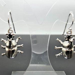 Rhinoceros beetle Earrings STERLING SILVER 925 Stag Beetle Symbol of Metamorphosis Exclusive Design Hercules beetles