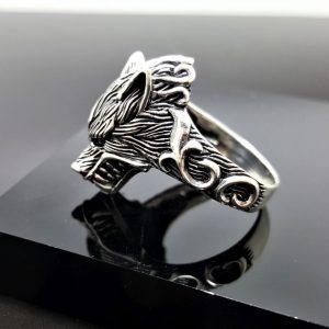 Wolf Ring STERLING SILVER 925 Totem Animal Talisman Amulet