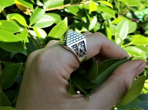 Mason Pyramid Ring 925 STERLING SILVER Masonic Sacred Symbols Geometry Symbol Square & Compasses Amulet Talisman