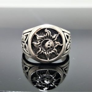 Sun Moon Ring 925 Sterling Silver Celtic Ornament Celestial Talisman