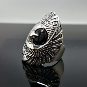Eagle Ring Sterling Silver 925 Black Onyx Eagles Feather Symbol of Great Strength Leadership & Vision Free Spirit Talisman Amulet