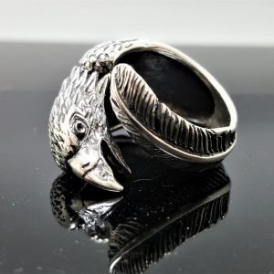 Eagle Ring Sterling Silver 925 Eagles Feather Symbol of Great Strength Leadership & Vision Free Spirit Talisman Amulet