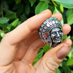 American Indian Ring Sterling Silver 925 Tribal Chief Warrior Natural TURQUOISE, Mother of Pear, Coral Native American Spirit Amulet Talisman
