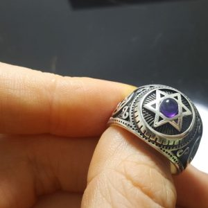 Custom Order for Bitta Natural AMETHYST 925 Sterling Silver Ring Star of David Infinity Sacred Symbols Talisman Protective Amulet