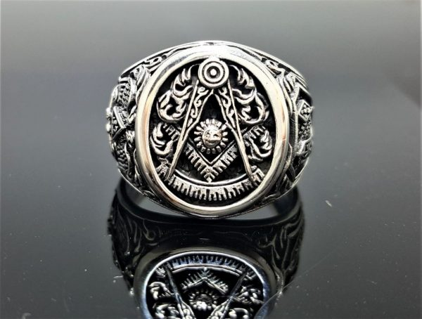 Masonic Ring 925 Sterling Silver Square & Compass Double-Headed Eagle 32 Freemasonry Sacred Masonic Geometry Symbols
