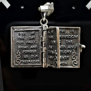 Holy Bible Locket Pendant Lord's Prayer New Testament Christian Prayer Holy Cross Jesus Christ Sacred Symbol