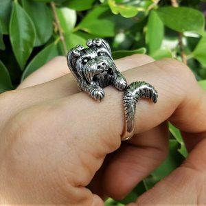 Yorkshire Terrier Ring Sterling Silver 925 Yorkie Dog Pet Lover Gift York Terrier Cute Animal Wrap around Finger