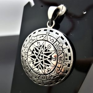 Occult Pendant STERLING SILVER 925 Zodiac Signs Planets Astrology Cosmic Energy Balance Sacred Symbols Talisman Amulet