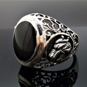 Dragon Black Onyx Ring STERLING SILVER 925 Gothic Wicca Magic Game of Thrones