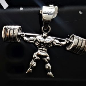 Body Builder Weight Lifting Barbell Pendant Charm 925 STERLING SILVER Muscles Champion Sport Exclusive Gift Heavy Duty