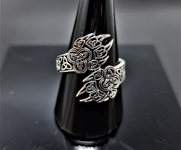 Bear Paw Ring STERLING SILVER 925 Viking Bear Claw Celtic Knot Slavic Warding Veles Sacred Symbol Talisman Amulet