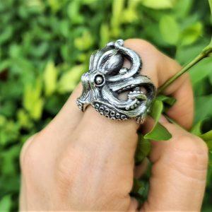 Massive OCTOPUS RING 925 Sterling Silver Ocean Sea Creature Tentacle Animal Talisman Exclusive Gift Heavy 21 grams