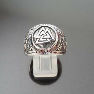 Valknut Ring STERLING SILVER 925 Viking Runic Odin Sacred Symbols interlocked Triangles Snoldelev Stone