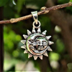 Sun Moon Pendant STERLING SILVER 925 Celestial Divine Talisman Protective Amulet Sacred Symbol Divinity Sun God Moon Goddess