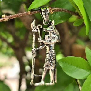 ANUBIS Pendant 925 Sterling Silver Egyptian God Jackal-headed Ankh Cane Sacred Symbol Talisman Amulet Handmade