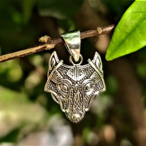 Fenrir Wolf Pendant STERLING SILVER 925 Celtic Amulet Viking Sacred Scandinavian Talisman