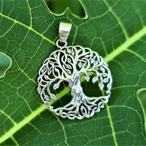 Tree of Life Pendant STERLING SILVER 925 Norse Symbol Universe Talisman Nordic Viking Runic Sacred Amulet