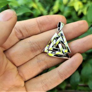 Valknut Pendant STERLING SILVER 925 Interlocked Triangles Viking Runic Scandinavian Sacred Talisman Snoldelev Stone