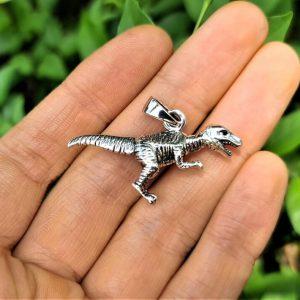Dinosaur Pendant STERLING SILVER 925 Tyrannosaurus Rex T-Rex Black Onyx Eyes Exclusive Design