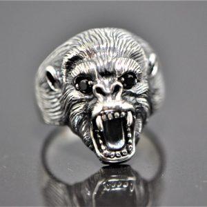 Roaring Gorilla Ring 925 Sterling Silver Black Onyx Eyes Large Fangs Monkey Totem Animal