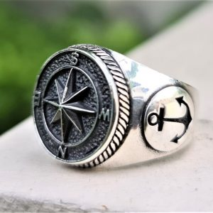 Wind Rose Compass Ring 925 STERLING SILVER Anchor Nautical Sun Dial Compass North/South East/West