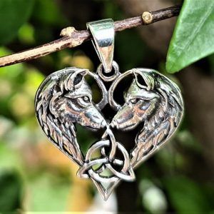 Heart Shaped Wolves Pendant STERLING SILVER 925 Celtic Trinity Knot Pair of Wolves Celtic Wolf Love Talisman