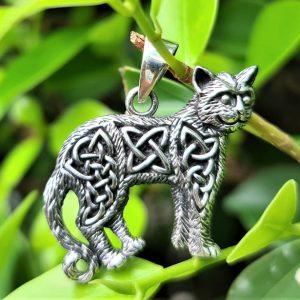 Celtic Cat Pendant STERLING SILVER 925 Celtic Knot Viking Ethnic Talisman Amulet