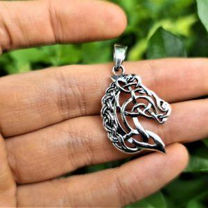 Epona Celtic Horse Pendant STERLING SILVER 925 Celtic Knot Viking Ethnic Talisman Amulet