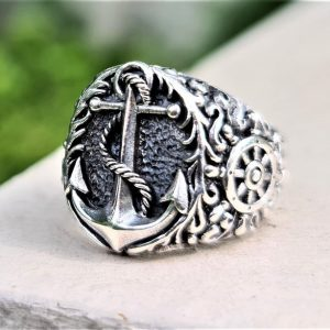 Anchor Nautical Ring STERLING SILVER 925 Ship Steering Wheel Sailor Sea Talisman Amulet