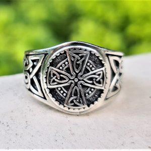 Celtic Cross Ring 925 Sterling Silver Trinity Celtic Knot Sacred Symbol Viking Talisman Amulet