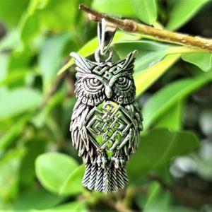 Wise Owl Pendant STERLING SILVER 925 Owl of Athena Symbol Of Wisdom Talisman Amulet Totem Animal