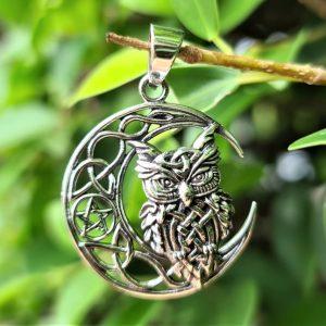 Owl Crescent Moon Pentagram Pendant STERLING SILVER 925 Owl of Athena Symbol Of Wisdom Talisman Amulet Totem Animal