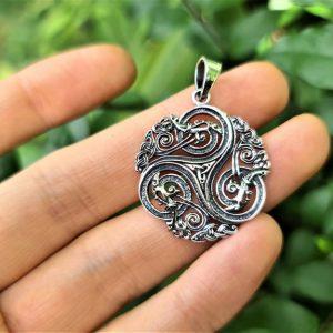 Triskele Pendant STERLING SILVER 925 Triple Spiral Trinity Knot Triquetra Triskelion Infinity Sacred Talisman Amulet