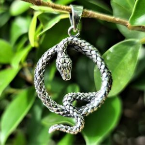 Snake Pendant 925 STERLING SILVER Kundalini Swirl Occult Sacred Symbol Talisman Protective Amulet Exclusive Gift