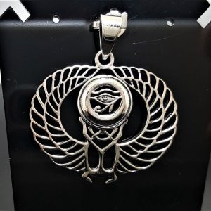 925 Sterling Silver Scarab Pendant Eye Of Horus God of Egypt Winged Scarab Egyptian Sacred Symbol Talisman Amulet Handmade ELIZ