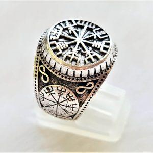 925 Sterling Silver Ring Vegvisir Runic Compass Aegishjalmur Vegvisir Pagan Sacred Island Symbols Talisman Amulet Norse Viking