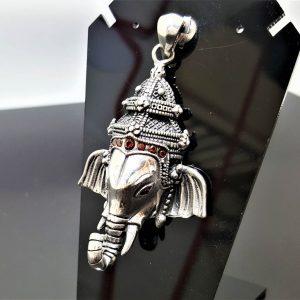 925 Sterling Silver Elephant Great Ganesha Pendant Lord of Success Wealth Wisdom Ohm Aum Talisman Amulet Spiritual Guidance Heavy 25.5 grams