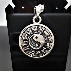 925 Sterling Silver Yin Yang Chinese Horoscope Zodiac Spinning Pendant Spinner Talisman Harmony Amulet Universe Cycles Eliz