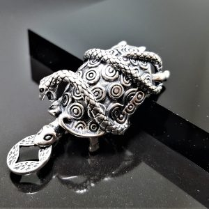 Turtle and Serpent Pendant STERLING SILVER 925 Black Turtle And Snake Black Warrior Chinese Constellation Ancient China Talisman Amulet