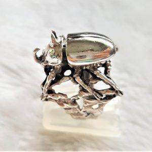 Rhinoceros beetle STERLING SILVER 925 Ring Stag Beetle Symbol of metamorphosis Exclusive Design Hercules beetles