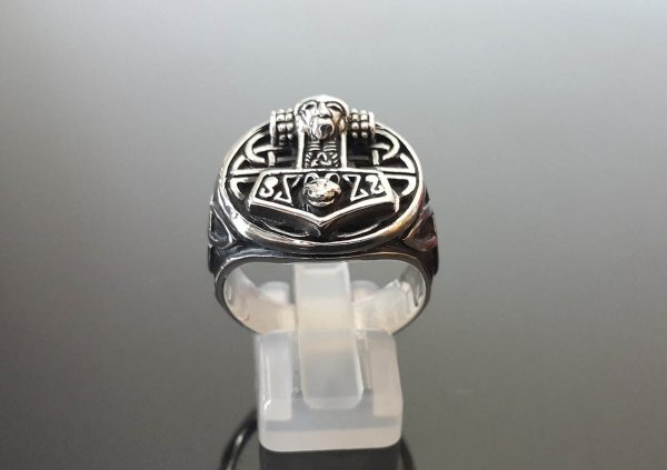 Eliz 925 Sterling Silver Ring Thor's Hammer Mjolnir Viking Scandinavian Celtic Amulet Talisman Sacred Symbol