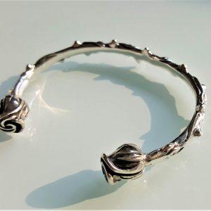 Eliz STERLING SILVER 925 Roses Bracelet Rose's Thorns Exclusive Design Size Adjustable